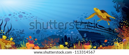Colored coral reef with silhouette school of fish and yellow turtle on blue sea background - stock vector