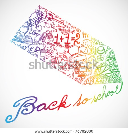 Colored crayon writing Back to school - stock vector
