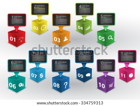 Colored Cube 3D with Speech Bubbles, Number and Business Icon, Text Information, 11 Options, Vector Illustration. - stock vector