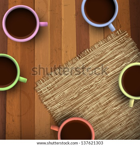 Colored cup of coffee on wooden background. Vector EPS10 - stock vector