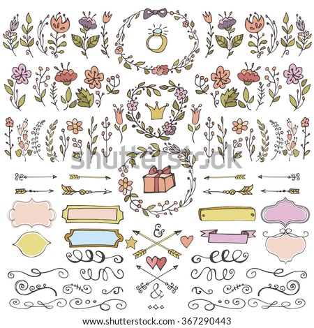 Colored Doodles flower,branches,arrow,ribbons.Vector decor element set for hand sketched logo,design template,invitations,blog.Vintage wedding,Valentine day,holiday,birthday,Easter Vector.Pastel color - stock vector