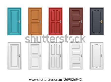 Colored doors set. Vector illustration - stock vector