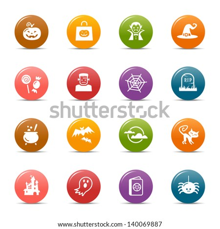 Colored Dots - Halloween Icons - stock vector