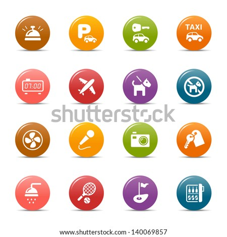 Colored Dots - Hotel and Resort icons - stock vector