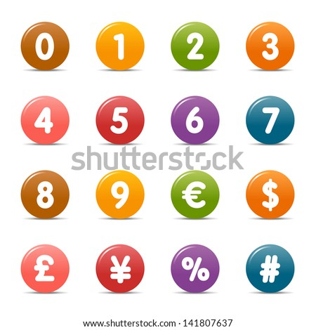 Colored Dots - Numbers & Currency icons - stock vector