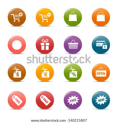 Colored Dots - Online Shopping icons - stock vector