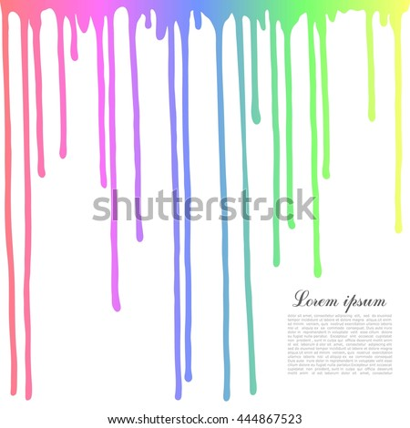 Colored drops on a white background. Dripping paint. - stock vector