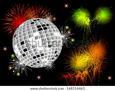 Colored fireworks and disco ball against black background - stock vector