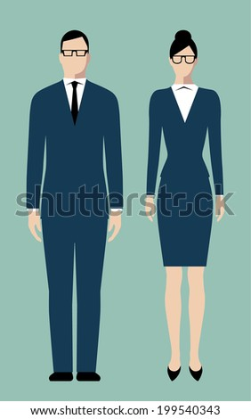 Colored flat design style illustration of business people - man and woman - dressed in suits. Isolated on stylish background. For infographics, banners and printed materials.  - stock vector