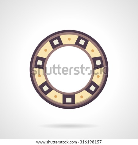 Colored flat design vector icon for bearing. Machinery part, spare part, ball bearing. Elements of web design for business or website. - stock vector