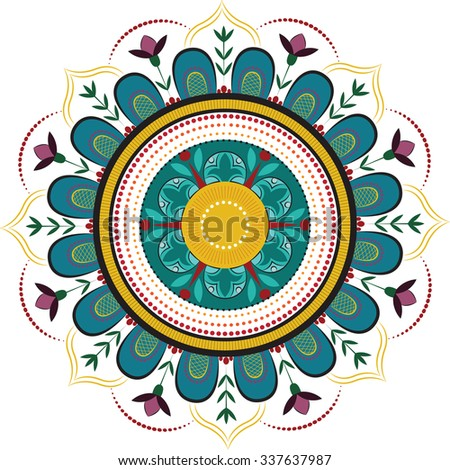Colored floral mandala - stock vector