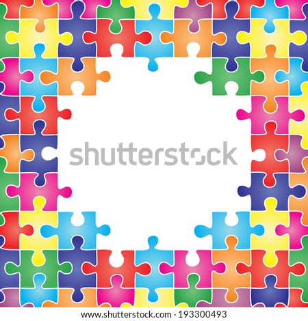 Colored frame made up of pieces of puzzle. Vector illustration - stock vector