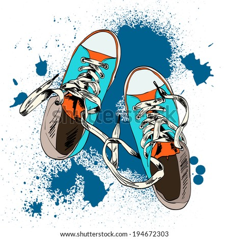 Colored funky gumshoes fashion sneakers grunge style with ink splash background vector illustration. - stock vector