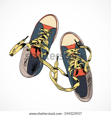 Colored funky gumshoes fashion sneakers isolated on white background vector illustration - stock vector