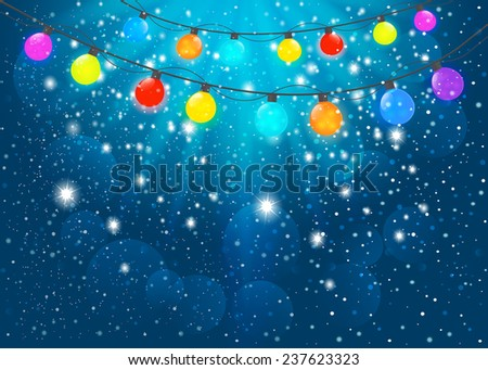Colored garland  in blue background. Vector EPS10. - stock vector