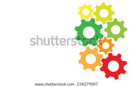 Colored gears as energy efficiency concept - stock vector