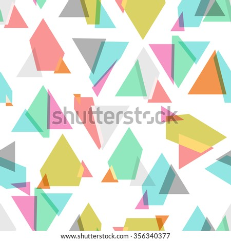 colored geometric seamless background over white, Vector - stock vector