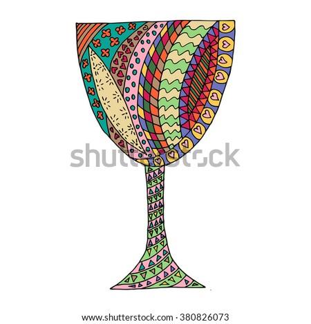 Colored glass zen tangl, zen dudl. Glass tattoo, a glass vector. - stock vector