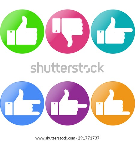 Colored glossy buttons with with finger gesture - stock vector