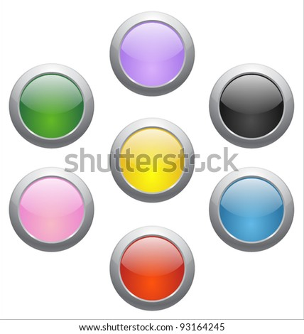 Colored glossy icons - stock vector