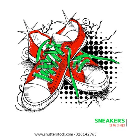 Colored hand drawn funky gumshoes skateboard fashion urban sneakers in red and green colors with title 'Sneakers is my shoes' on grunge halftone background, vector illustration - stock vector