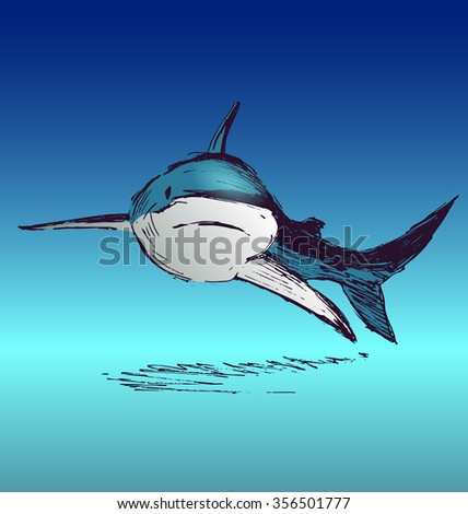 Colored hand sketch shark - stock vector