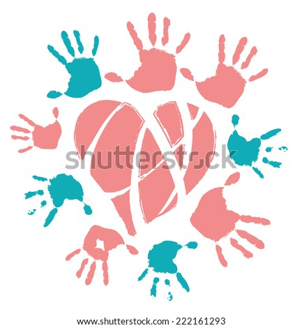 Colored hands around neon heard, vector illustration, isolated - stock vector