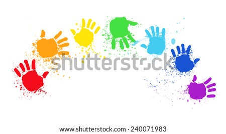 colored hands create rainbow, hands rainbow, colored hand print, - stock vector