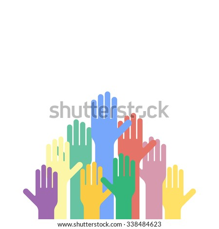 Colored hands raised up. Vector background - stock vector