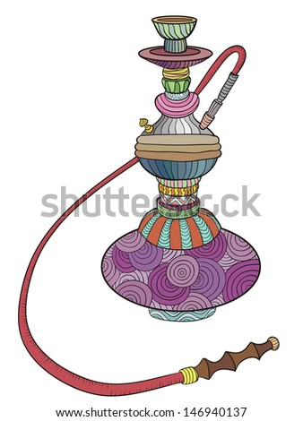 Colored hookah with patterns. Doodle. vector illustration - stock vector