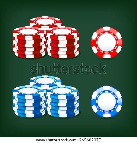 colored illustration chips casino icon - stock vector