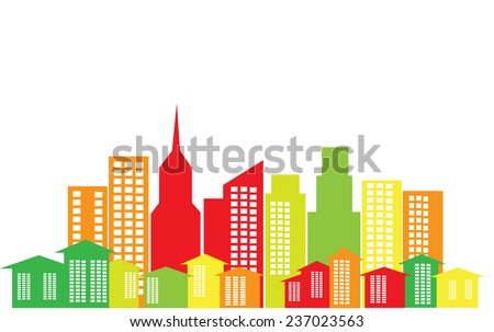 Colored illustration of buildings and houses symbolizing energy efficient cities - stock vector