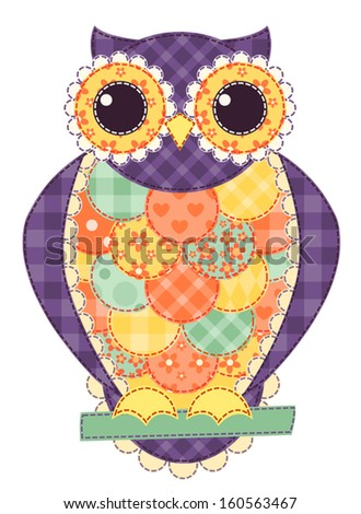 Colored isolated patchwork owl. Vector quilt illustration. - stock vector