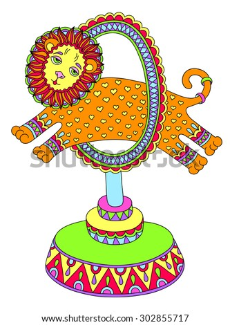 colored line art drawing of circus theme - a lion jumps through a ring, vector illustration - stock vector