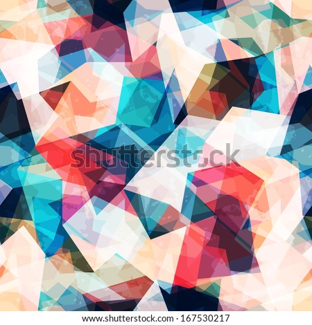 colored mosaic seamless pattern with grunge effect - stock vector