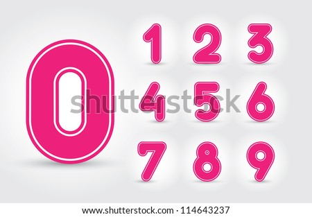Colored numbers design in editable vector format - stock vector