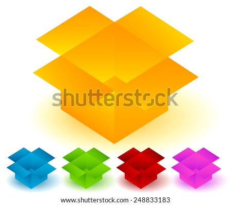 Colored Open boxes - Delivery - stock vector