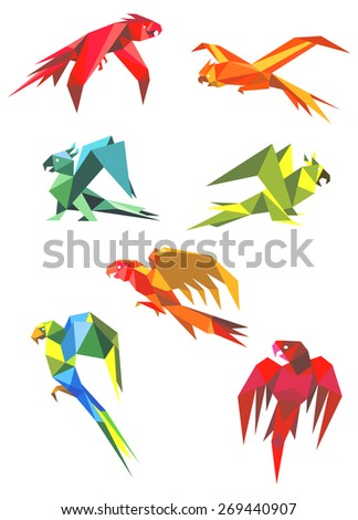 Colored origami parrot birds in flight with open beaks and long tails isolated on white background for logo or emblem design - stock vector