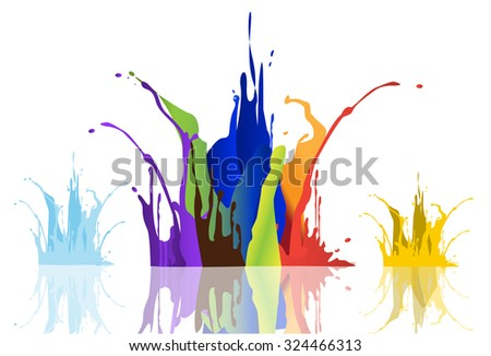 Colored paint splashes isolated on white background ,vector illustrations - stock vector