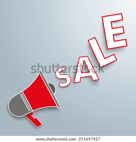 Colored paper bullhorn on the gray background. Eps 10 vector file. - stock vector