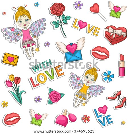Colored pattern,set,clip art.With a box of chocolates with a bow, pink, blue,perfume, text, lipstick, hearts, flowers, women high heel shoes, champagne, wine, glasses, elf, wings, love - stock vector