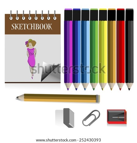Colored pencil  set, a graphite pencil, eraser, sharpener and sketchbooks in vintage style - stock vector