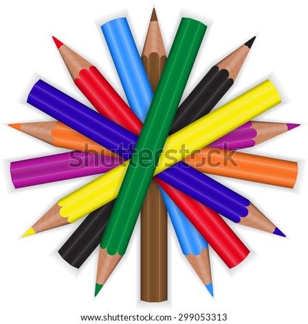 colored pencils are in the form of a circle on a white background - stock vector