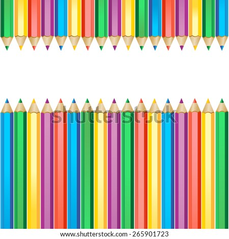colored pencils isolated on white - stock vector