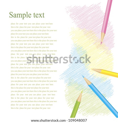 colored pencils to shade the white isolated background - stock vector