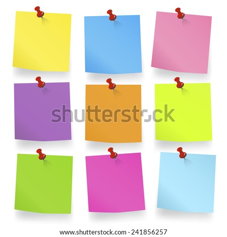 Colored pieces of Blank Notes - stock vector