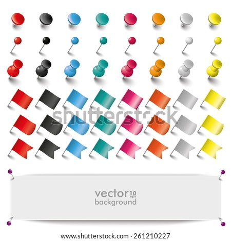 Colored pins, flags and tacks on the white background. Eps 10 vector file. - stock vector