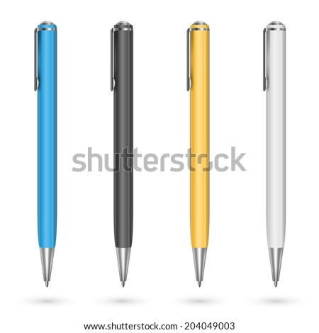 Colored plastic pens. Vector illustration - stock vector