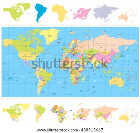 Colored political World Map with continnets.All elements are separated in editable layers clearly labeled. - stock vector