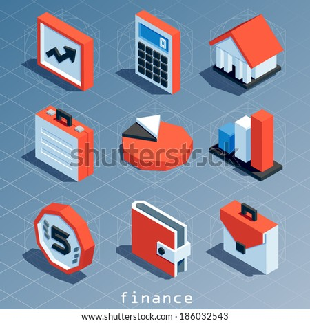 colored polygonal isometric finance icon set - stock vector